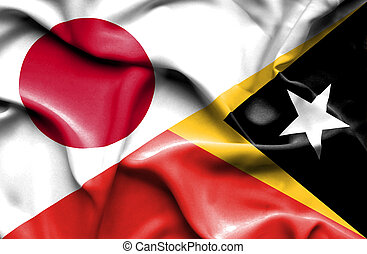 Waving flag of East Timor and Japan - Waving flag of East...