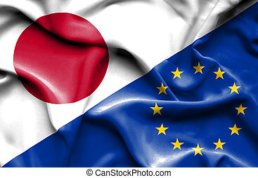 Waving flag of European Union and Japan - Waving flag of...