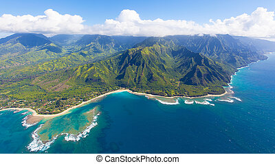 kauai aerial view - breathtaking aerial view from helicopter...
