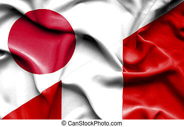 Waving flag of Peru and  Japan - Waving flag of Peru and