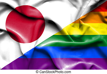 Waving flag of Pride and Japan