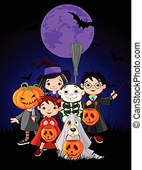 Halloween Children - Halloween children trick or treating in...