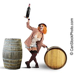 Funny drunk clown - Drunk clown between wine bottles and...