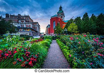Gardens at Kungsträdgården, and St. Jacobs Kyrka in...