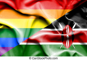 Waving flag of Kenya and Pride