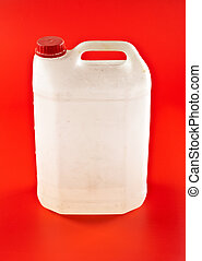white dusty canister on red