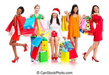 Group of shopping women.