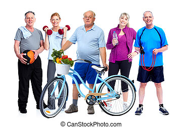 Group of elderly fitness people with bicycle.