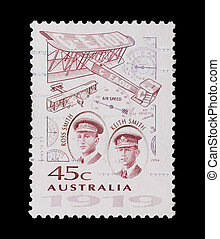 ross brothers - Australian mail stamp featuring pioneering...