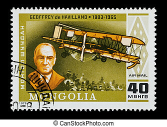 Geoffrey de Havilland - Mongolian mail stamp featuring...