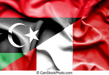 Waving flag of Peru and Libya