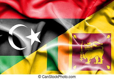 Waving flag of Sri Lanka and Libya