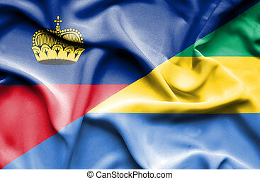 Waving flag of Gabon and Lichtenstein
