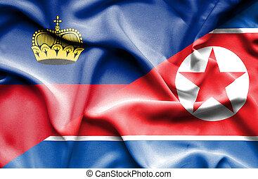 Waving flag of North Korea and Lichtenstein