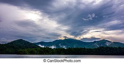 panoramic landscapes and beautiful nature at lake santeetlah...
