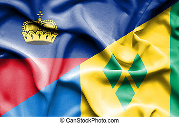 Waving flag of Saint Vincent and Grenadines and Lichtenstein