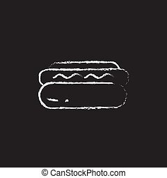 Hotdog icon drawn in chalk. - Hotdog hand drawn in chalk on...