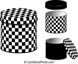 Canisters, Checkerboard design - Storage canisters in black...