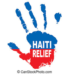 haiti hand - Grunge ink hand with the colours of haiti flag...