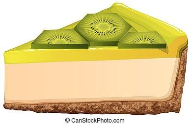 Cheesecake with fresh kiwi illustration