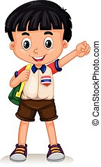 Thai boy carrying a backpack