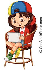 Little girl playing game on tablet illustration
