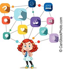 Girl with science icons diagram
