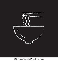 Bowl of noodles with a pair chopsticks icon drawn in chalk.