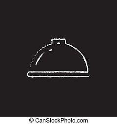 Restaurant cloche icon drawn in chalk - Restaurant cloche...