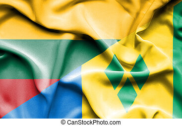 Waving flag of Saint Vincent and Grenadines and Lithuania