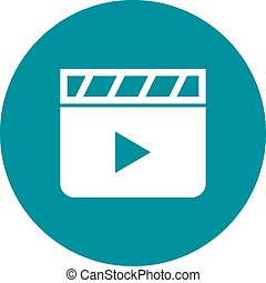 Clapperboard - Clapper, board, film icon vector image. Can...