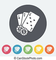 Baccarat. Single flat icon on the circle button. Vector...