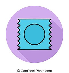 Condom Single flat color icon on the circle Vector...