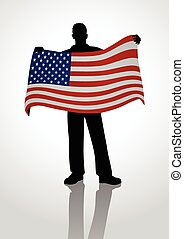 Flag Bearer - Silhouette of a man holding the US flag
