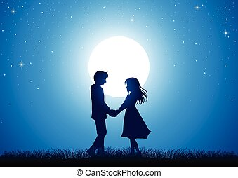 Young Lover - Silhouette illustration of young couple...