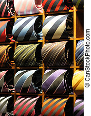 Neck Ties - Silk neck ties in a display cabinet