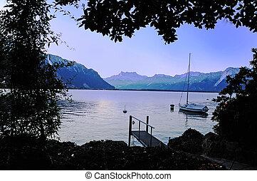 Peaceful Mooring - Sailboat peacfully moored on Lake Geneva...