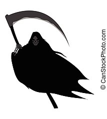 Grim Reaper - Illustration of grim reaper on white...