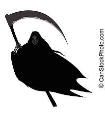 Grim Reaper - Illustration of grim reaper on white...