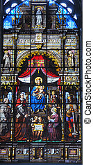 Stained Glass Window - Mary and baby Jesus surrounded by...