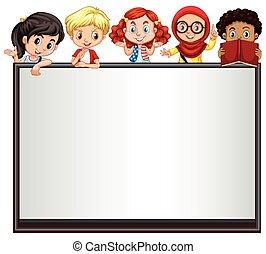International children on whiteboard illustration