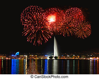 Fireworks with Geneva Fountain - Geneva lake front with...