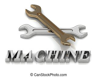 MACHINE- inscription of metal letters and 2 keys on white...