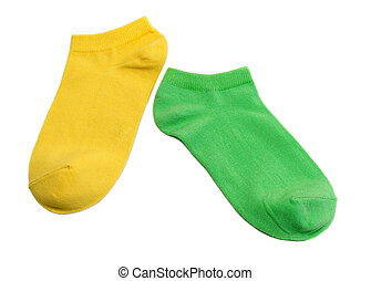 Two colored socks, yellow and green. Isolate on white.