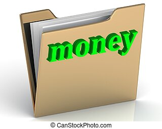 money - bright green letters on a folder on a white...