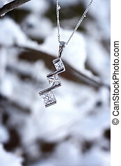 Beautiful necklace in snowy scene - A beautiful necklace...