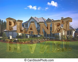 PLANET- inscription of bright gold letters on garden and...
