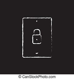 Smartphone security icon drawn in chalk. - Smartphone...
