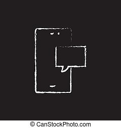 Touch screen phone with message icon drawn in chalk. - Touch...