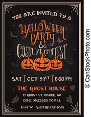 Typography Halloween Party and costume contest Invitation...